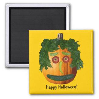 Happy Halloween! - Uncut Pumpkin Face Square Magnet