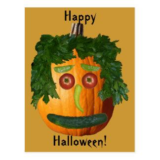 Happy Halloween - Uncut Pumpkin Face Postcard