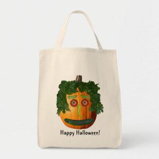 Happy Halloween! - Uncut Pumpkin Face Grocery Tote Bag
