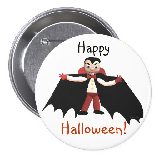 Happy Halloween Vampire Pin