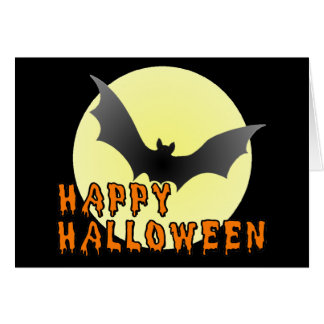 Happy Halloween Vampire Bat Greeting Card