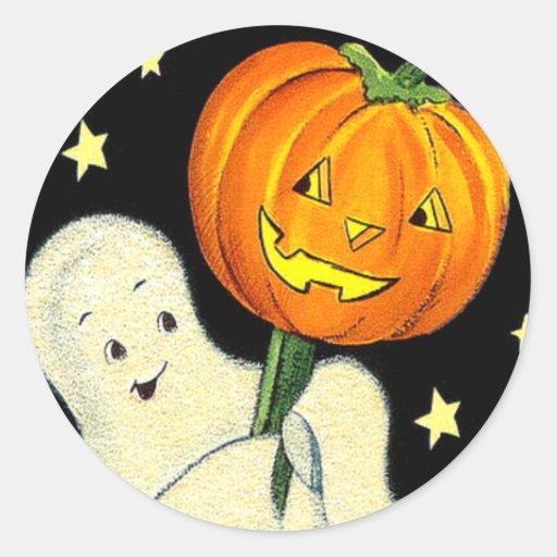 Happy Halloween Vintage Ghost and Pumpkin Sticker