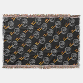 Happy Halloween Vintage Skull Throw Blanket