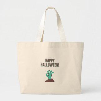 Happy Halloween Walking Dead Zombie Corpse Design Large Tote Bag