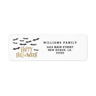 Happy Halloween Watercolor Bats Return Address Label