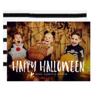 Happy Halloween White Overlay Photo Card 13 Cm X 18 Cm Invitation Card