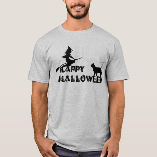 happy halloween witch and black cat  men t-shirt