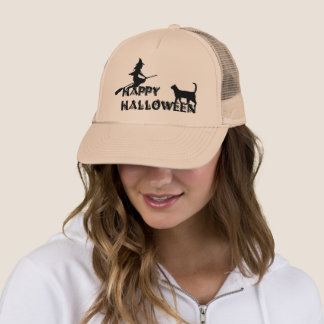 happy halloween witch and black cat  Trucker hat