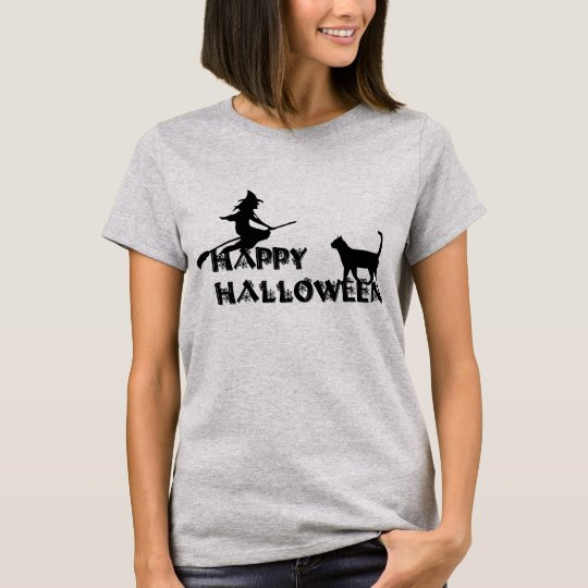 happy halloween witch and black cat  women t-shirt