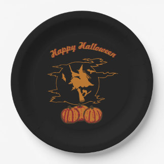 Happy Halloween - Witch and Moon on Black Paper Plate
