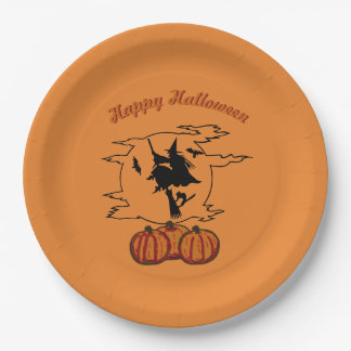 Happy Halloween - Witch and Moon on Orange 9 Inch Paper Plate
