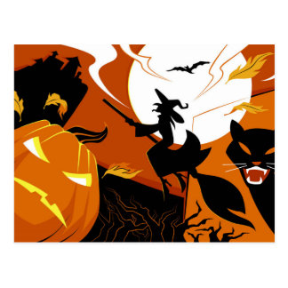 Happy Halloween witch, bats and pumpkins Postcard