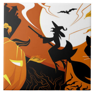 Happy Halloween witch, bats and pumpkins Tile