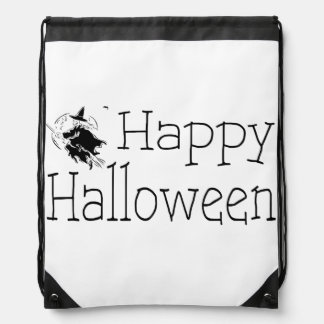 Happy Halloween Witch Broom Candy or Costume Bag Cinch Bags