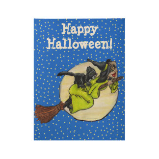 Happy Halloween Witch Flying on Broom Past Moon Wood Poster