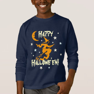 Happy Halloween Witch on Broom Stars Orange Moon T-Shirt