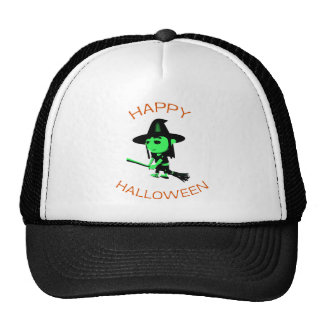 Happy Halloween Witch on Broomstick Mesh Hats