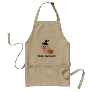 Happy Halloween Witch Pig Apron