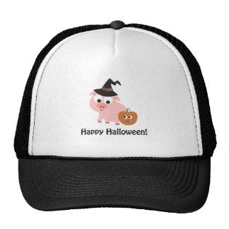 Happy Halloween Witch Pig Trucker Hats