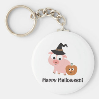 Happy Halloween Witch Pig Key Chains