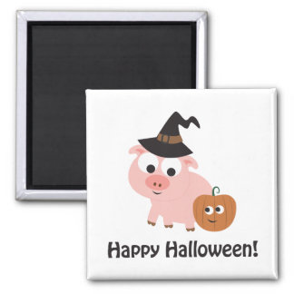 Happy Halloween Witch Pig Refrigerator Magnet