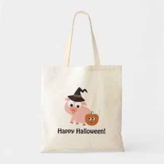 Happy Halloween! Witch Pig Tote Bag