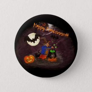 happy halloween witch with bats 6 cm round badge