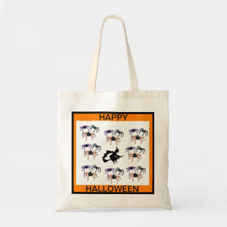 HAPPY HALLOWEEN witch with spiders tote bag