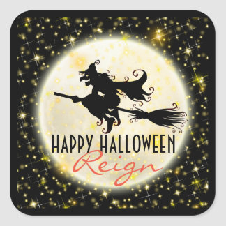 Happy Halloween Witch's Ride Moon Glitter Stickers