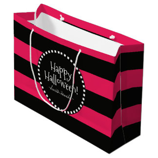 Happy Halloween! Witch's Whimsical Stripes Large Gift Bag