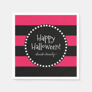Happy Halloween! Witch's Whimsical Stripes Paper Serviettes