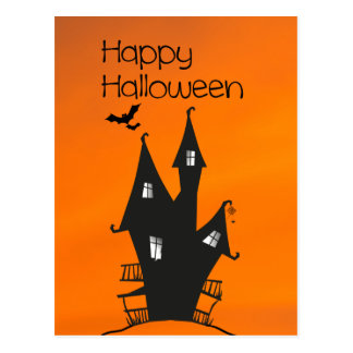 Happy Halloween with a Haunted Witches House Postcard