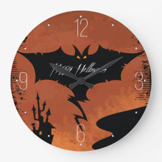 Happy Halloween with devil bat Wall Clock