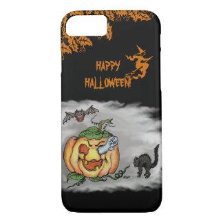 Happy Halloween with Ghost Cat Bat Pumpkin iPhone 7 Case