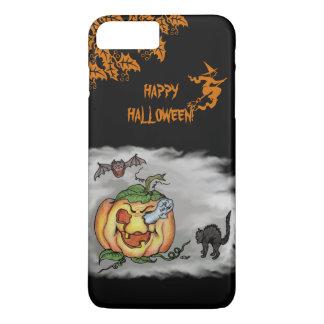 Happy Halloween with Ghost Cat Bat Pumpkin iPhone 7 Plus Case