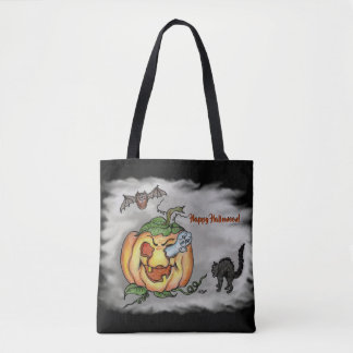 Happy Halloween with Ghost Cat Bat Pumpkin Tote Bag