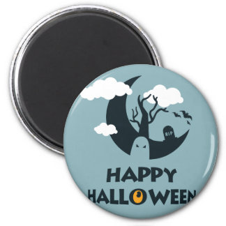 Happy Halloween with moon and graveyard 6 Cm Round Magnet