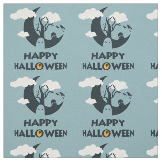 Happy Halloween with moon and graveyard Fabric