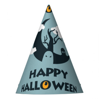 Happy Halloween with moon and graveyard Party Hat