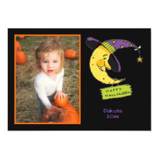 Happy Halloween with Moon Customized  Photo Frame Card