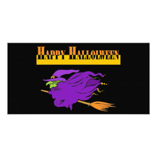 Happy Halloween with Purple Witch Photo Card Template