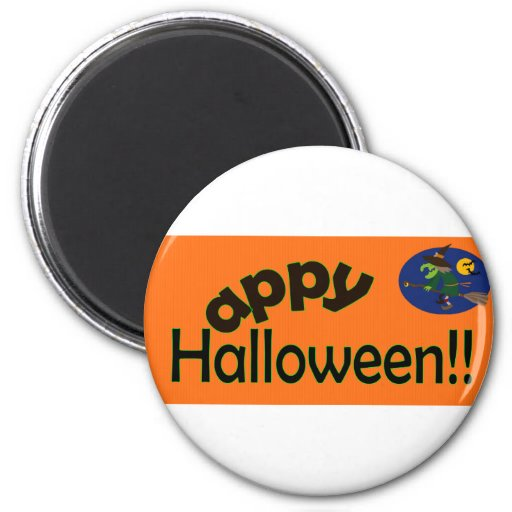 Happy Halloween with Witch Magnet