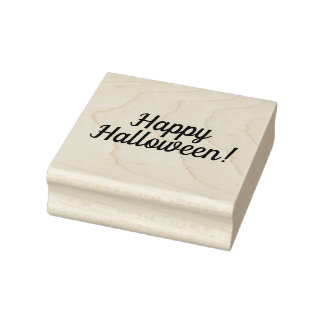 Happy Halloween Wooden Block Mounted Rubber Stamp