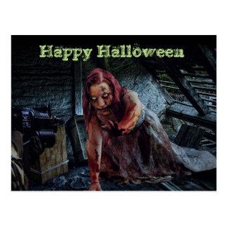 Happy Halloween Zombie Girl Postcard