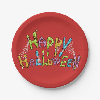 happy halloween - zombie graffiti paper plate