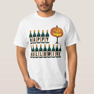Happy Hallowine Pumpkin and Wine Bottles Halloween T-Shirt