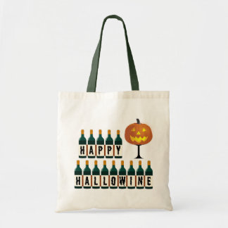 Happy Hallowine Pumpkin and Wine Bottles Halloween Tote Bag