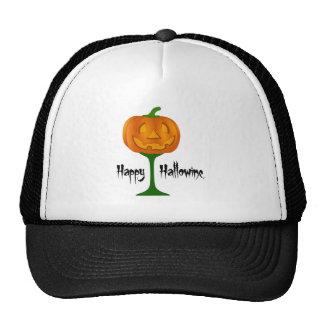 Happy Hallowine Pumpkin Wine Glass Halloween Cap