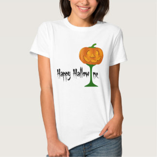 Happy Hallowine Pumpkin Wine Glass Halloween T Shirts