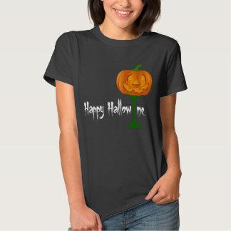 Happy Hallowine Pumpkin Wine Glass Halloween Tee Shirt
